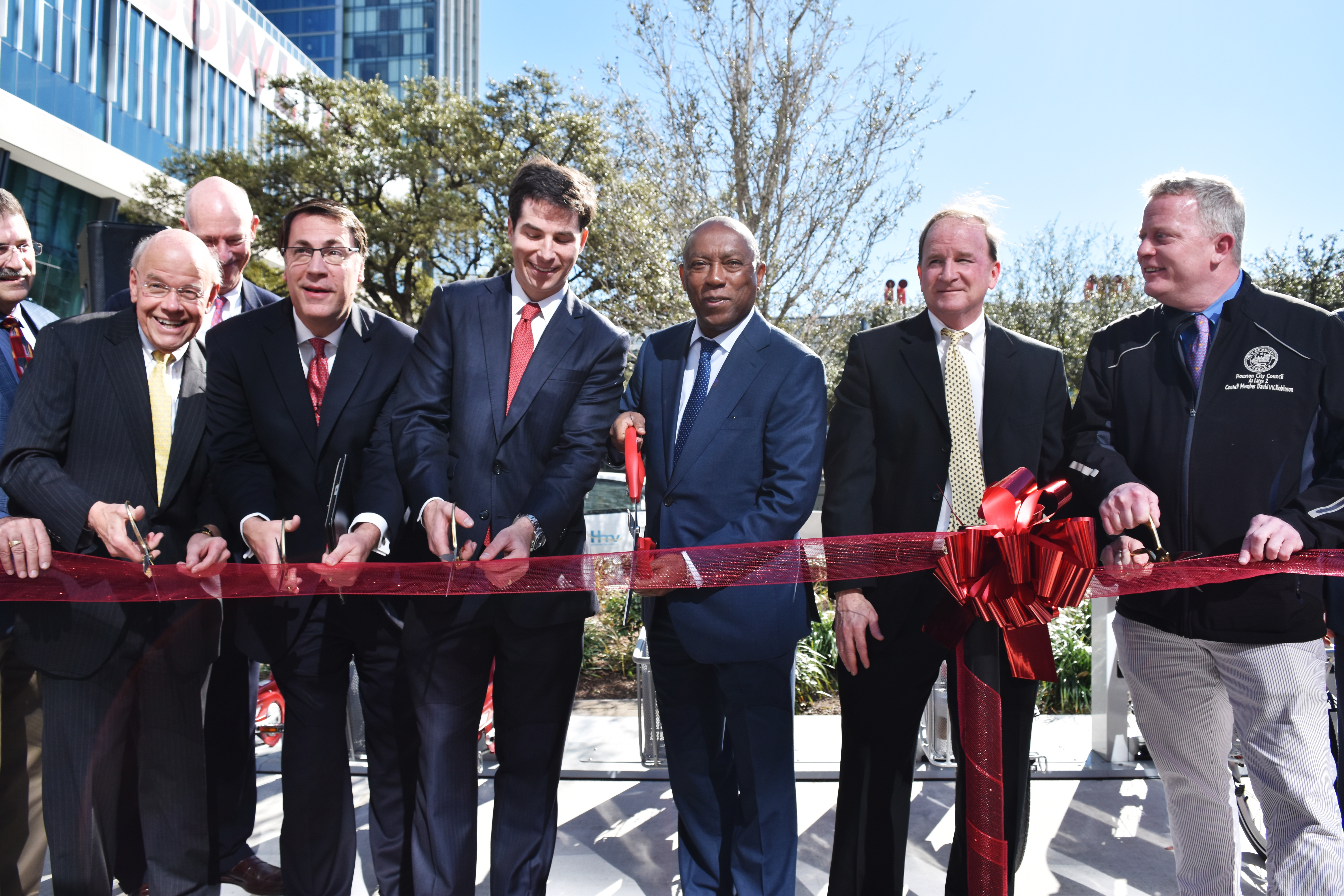 Mayor Turner, Carter Stern and Mark Montgomery with City council Members Cutting Ribbon