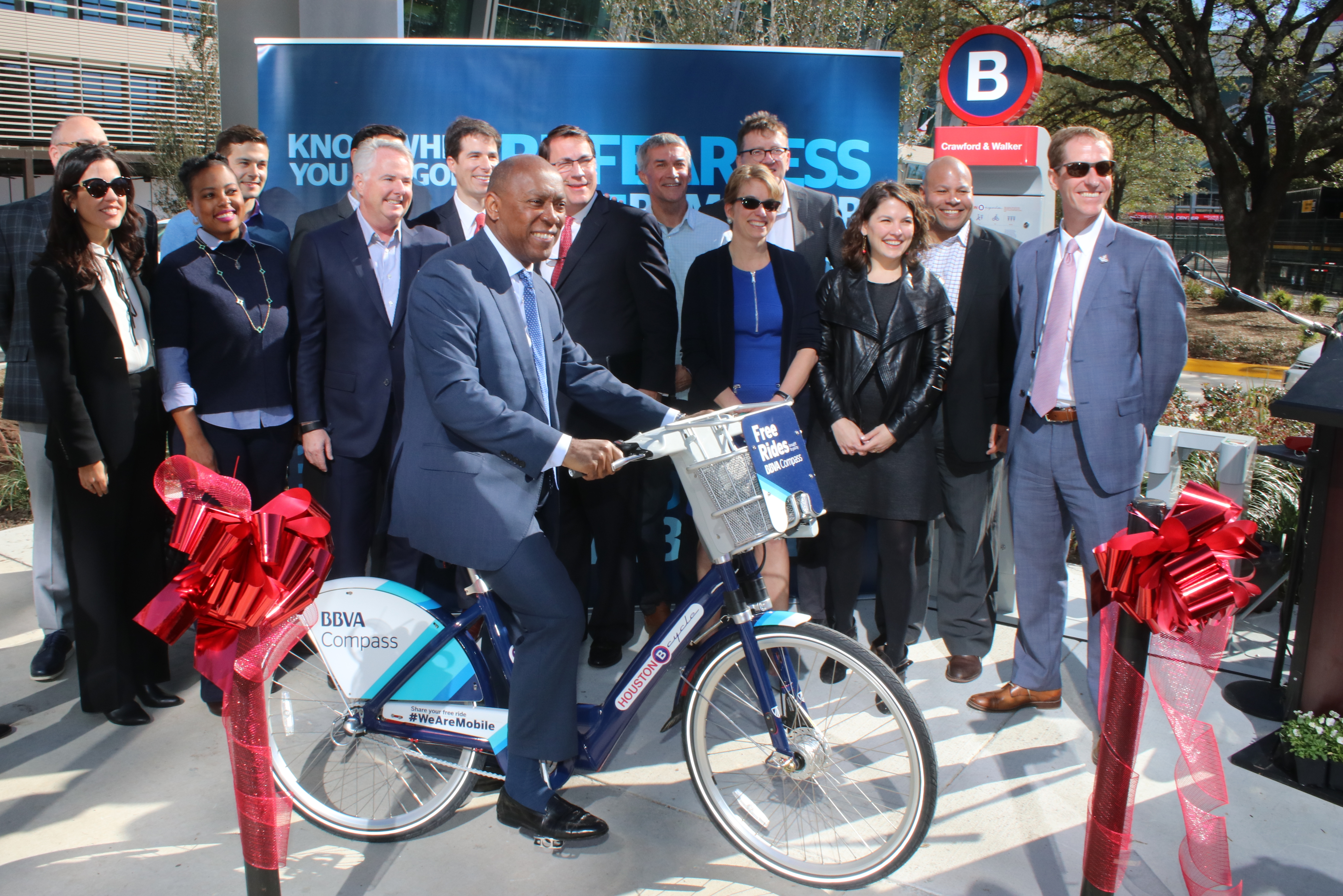 Mayor on BBVA Bike with Houston Bike Share Board - Photo by Doogie Roux